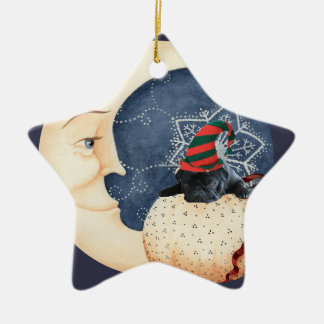 Pug You To The Moon! Ceramic Star Ornament