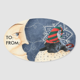 Pug You To The Moon! Oval Sticker