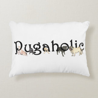 "Pugaholic Accent Pillow 16"" x 12"""