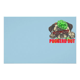 Puggerd out pug pup stationery