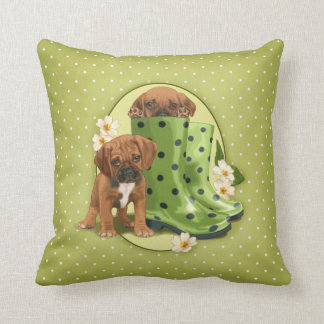 Puggle in boots throw pillow