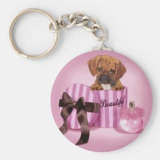 Puggle in Stripy Round Box Keychain