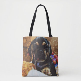 Puggle love tote bag