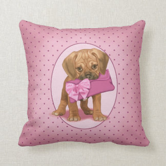 Puggle Puppy and Clutch Throw Pillow
