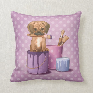 Puggle puppy in painting pot throw pillow
