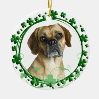 Puggle St Patrick's Day Ornament