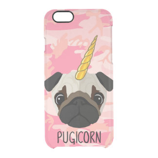Pugicorn Pug Face Unicorn Funny Meme Camo Animal Clear iPhone 6/6S Case