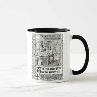 Pugin at work, frontispiece from 'True Principles Mug
