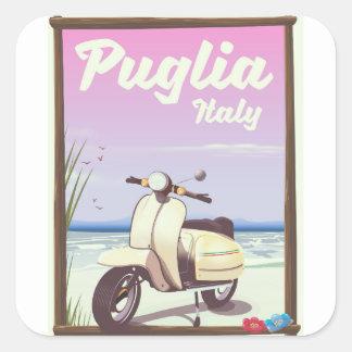 Puglia Italy Travel poster. Square Sticker