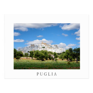 Puglia town with olive trees white postcard