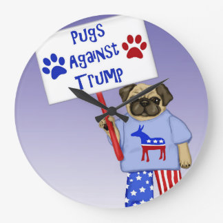 Pugs against Trump Large Clock