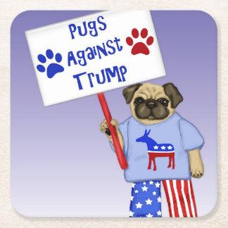 Pugs against Trump Square Paper Coaster