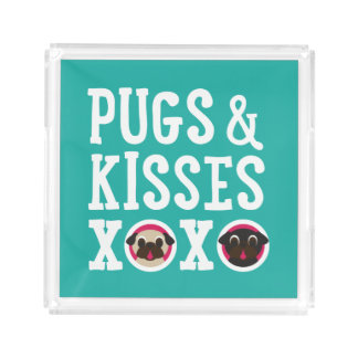 Pugs and Kisses XOXO Black and Fawn Pugs Acrylic Tray