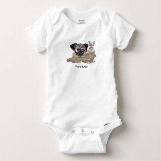 Pug's Bunny Cute Cartoon Dog Baby Onesie
