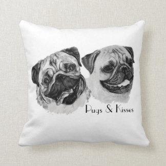 """Pugs & Kisses"" Throw pillow. Throw Pillow"
