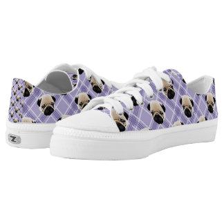 Pugs - Lavendar Plaid.jpg Low-Top Sneakers