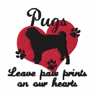 Pugs Leave Paw Prints Women s Embroidered Hooded Sweatshirt