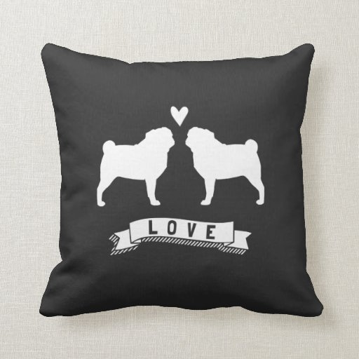 Pugs Love - Dog Silhouettes with Heart Pillows