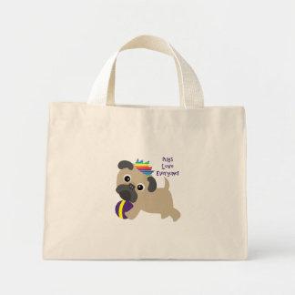 Pugs Love Everyone Mini Tote Bag