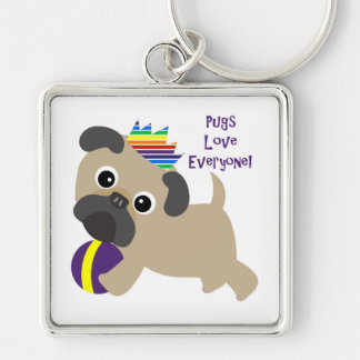 Pugs Love Everyone Silver-Colored Square Keychain