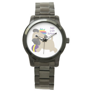 Pugs Love Everyone Wrist Watches
