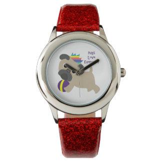 Pugs Love Everyone Wristwatch