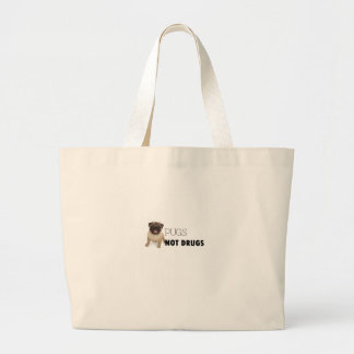 Pugs Not Drugs Large Tote Bag