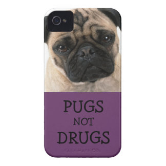 Pugs Not Drugs Purple iPhone 4 Cover