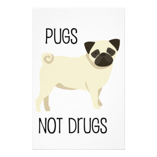 Pugs not drugs stationery paper