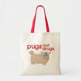 Pugs not drugs tote bag