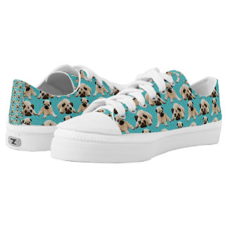 Pugs on Aqua Low-Top Sneakers