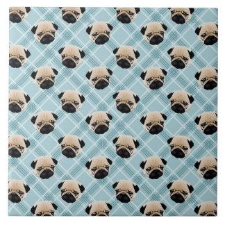 Pugs on Blue Plaid Tile