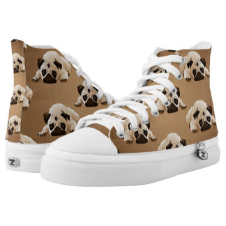Pugs on Brown Background High Tops