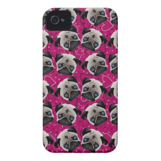 Pugs on Grunge Hearts iPhone 4 Covers