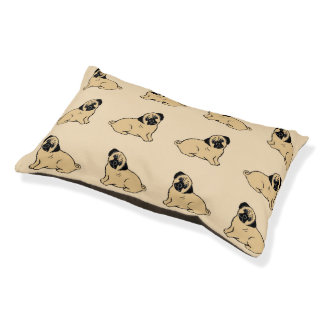 Pugs Pattern Creme Dog Bed Small Dog Bed