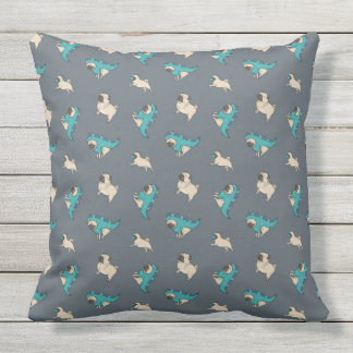 Pugs' Pattern, Dogs Rule! Throw Pillow