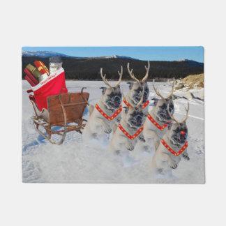 Pugs Pulling Christmas Sleigh Door Mat