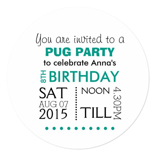 Pugs Rule Party Card