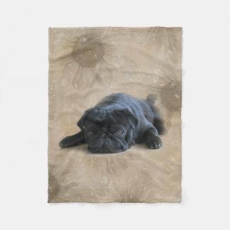 Pugs: Sunflower Black Pug Lover Dog Fleece Blanket