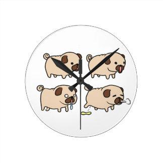 Pugs wall hanging clock