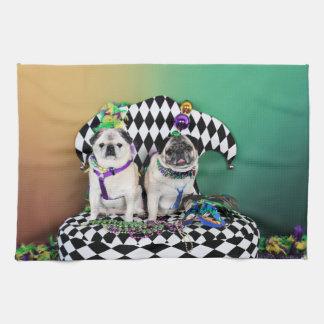Pugsgiving Mardi Gras 2015 - Pippin Fugoh - Pugs Hand Towels