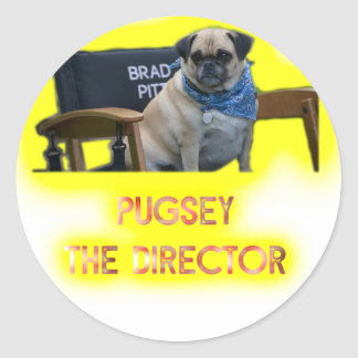 Pugsley The Director Classic Round Sticker