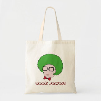 Puissance de geek avec une perruque verte d'Afro e Sac En Toile Budget