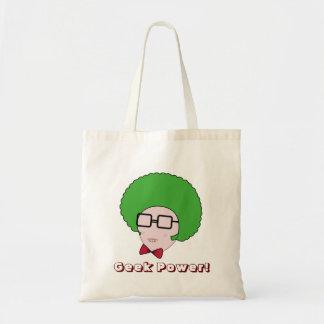 Puissance de geek avec une perruque verte d'Afro Sac En Toile Budget