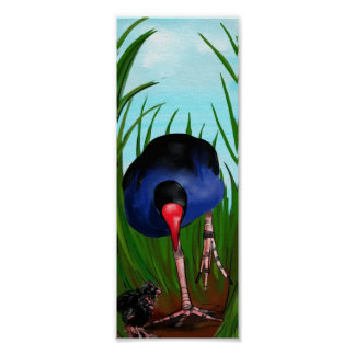 Pukeko and Chicks Poster