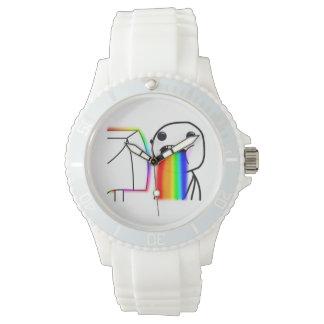 Puking Rainbow Custom Sporty White Silicon Watch