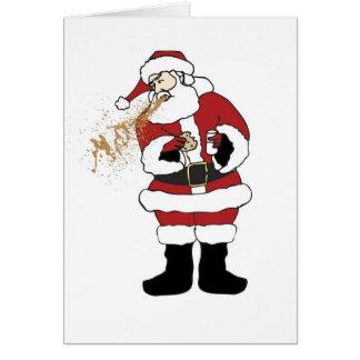 Puking Santa Christmas Card