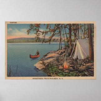 Pulaski, NY View of Canoe, Camping, Tent, Lake Poster