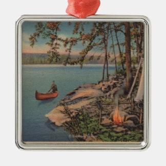 Pulaski, NY View of Canoe, Camping, Tent, Lake Silver-Colored Square Ornament