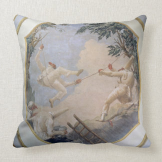 Pulcinella on a Swing, 1797 (fresco) Throw Pillow